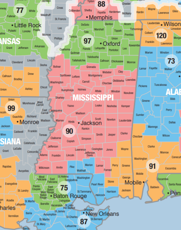 Map of Mississippi Local Section counties